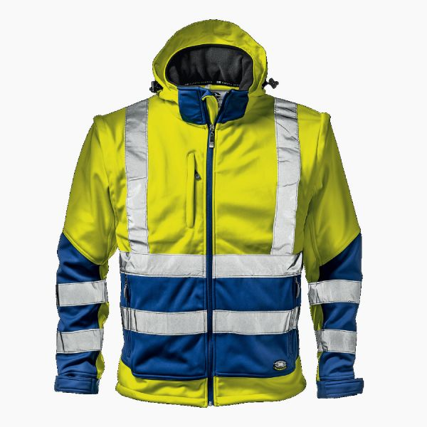 SIR STARMAX Warnschutz-Softshell-Jacke - gelb/königsblau