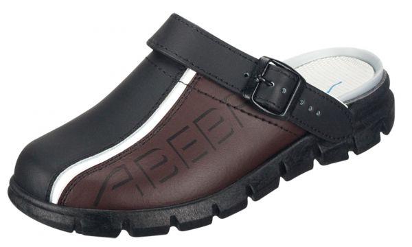 Abeba 7315 Dynamic Clog schwarz/braun mit Aufdruck - OB SRC Berufsschuhe