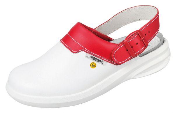 Abeba 37623 Easy Clog weiß/rot ESD - OB SRC Berufsschuhe